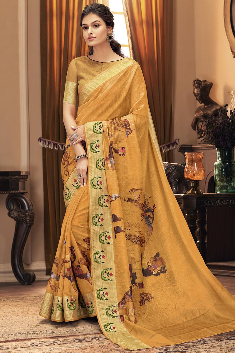Mustard Color Party Style Trendy Art Silk Fabric Saree