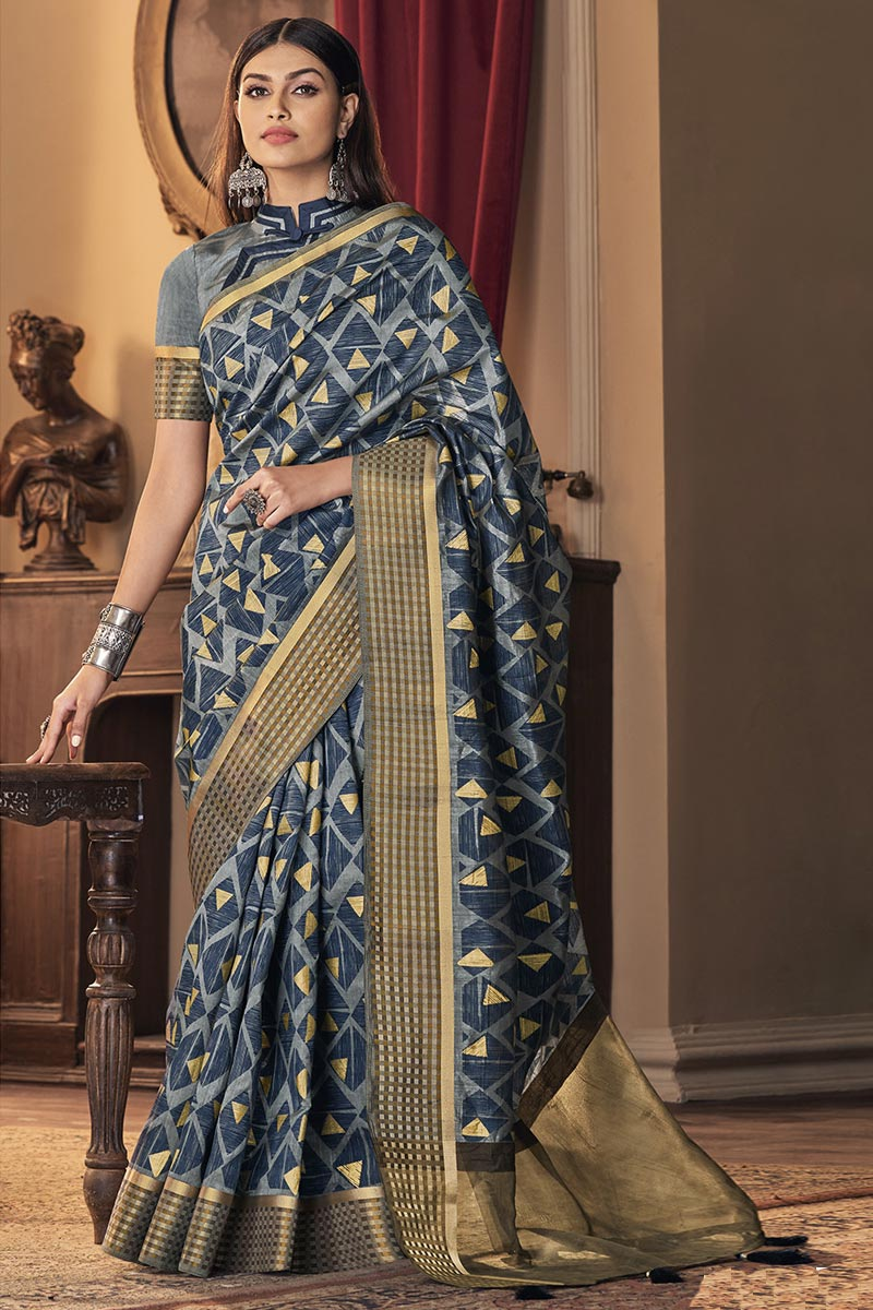 Art Silk Fabric Party Style Blue Color Trendy Saree