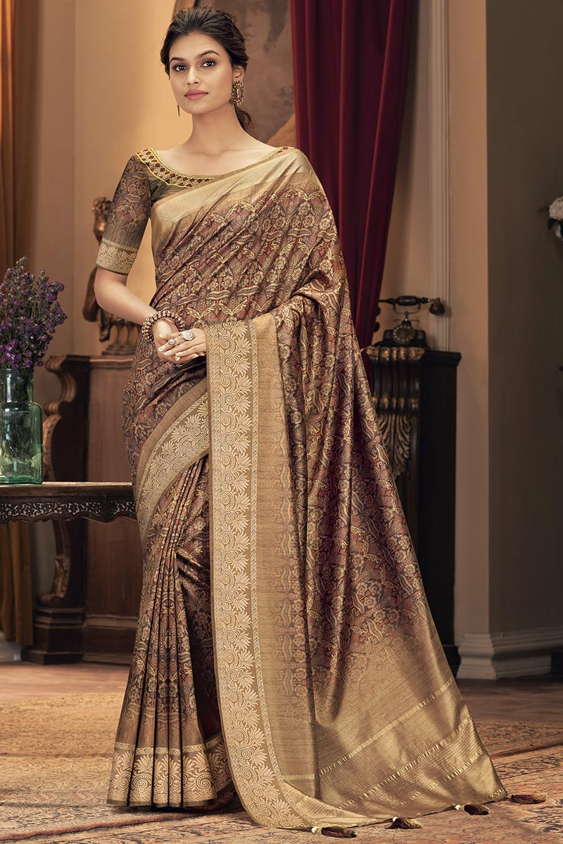 Rust Color Party Style Trendy Art Silk Fabric Saree