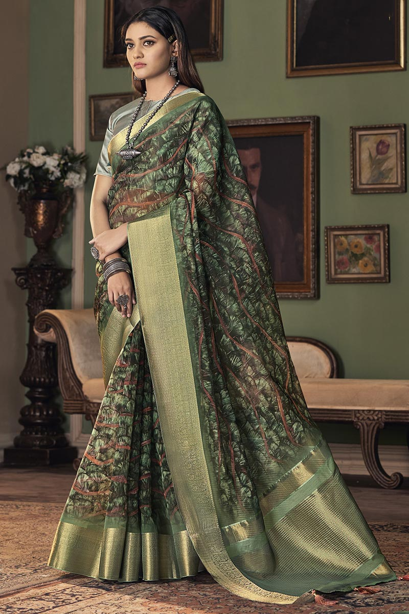 Party Wear Green Color Trendy Art Silk Fabric Saree