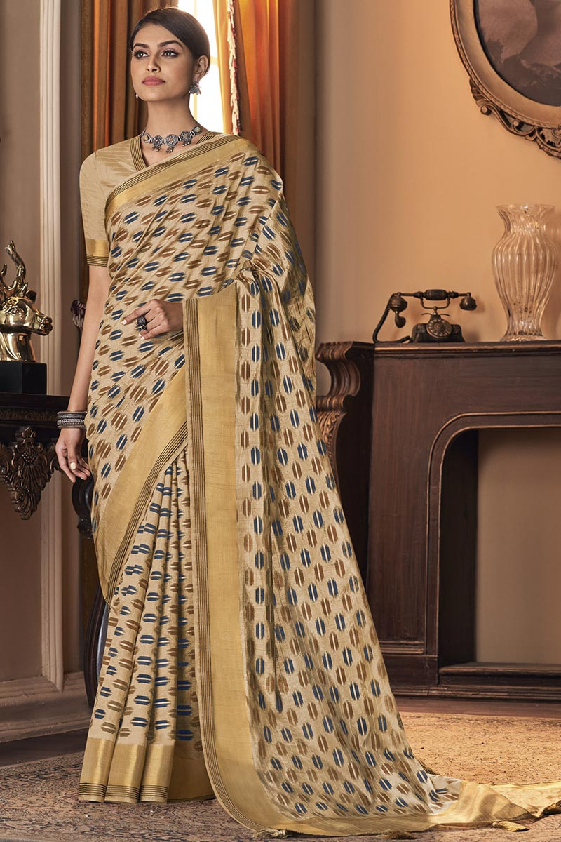 Party Wear Art Silk Fabric Trendy Saree In Cream Color