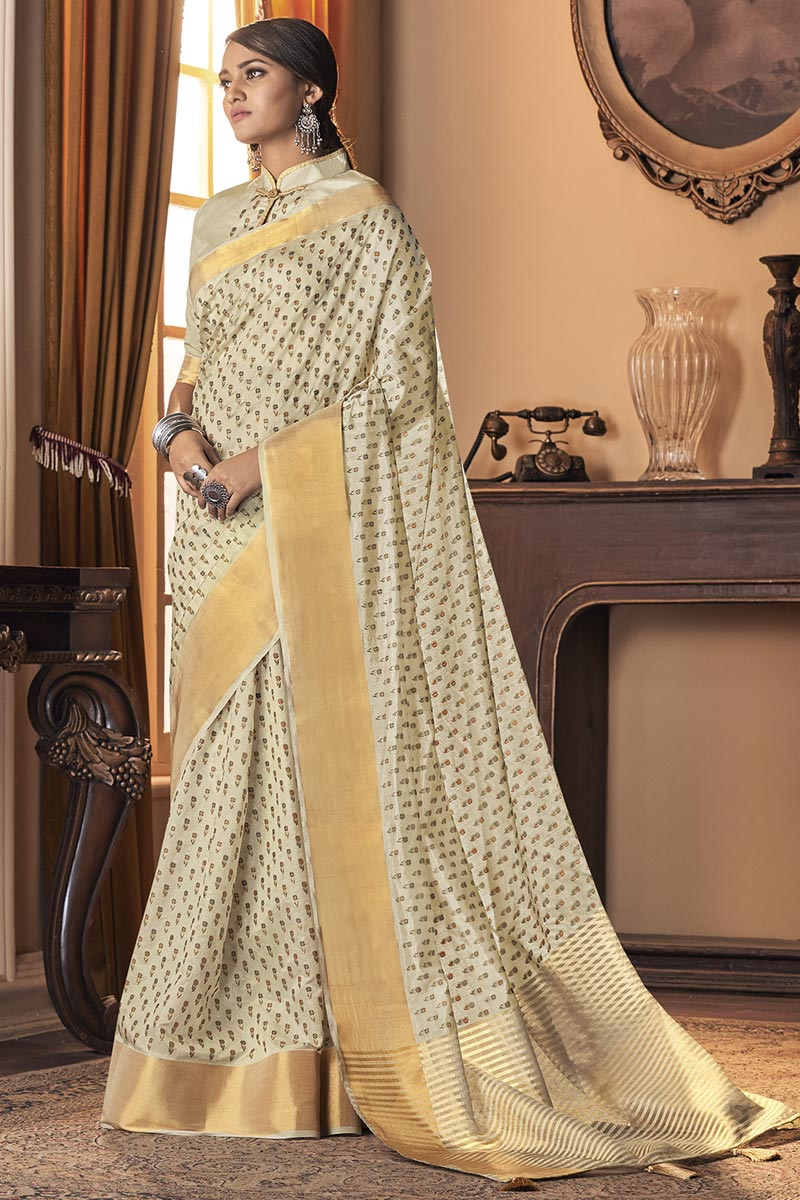 Beige Color Party Wear Art Silk Fabric Trendy Saree