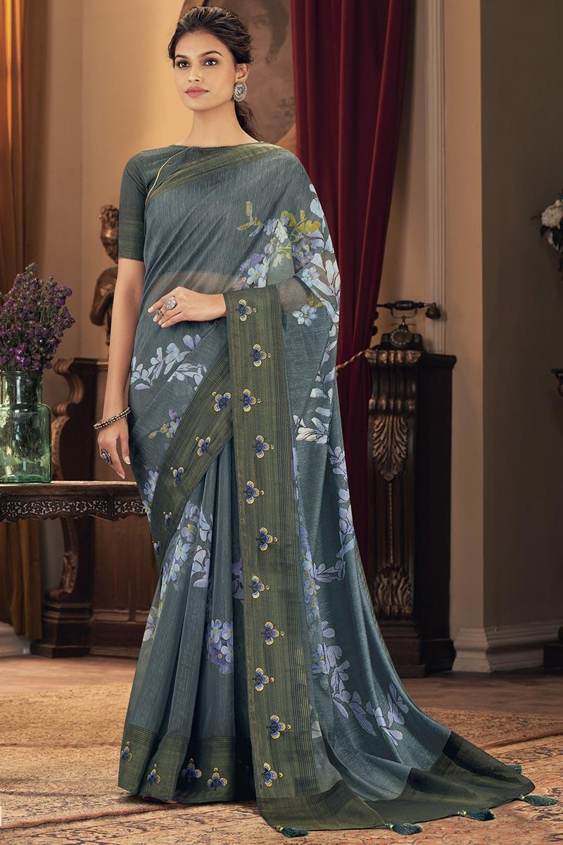 Party Wear Trendy Grey Color Saree In Art Silk Fabric