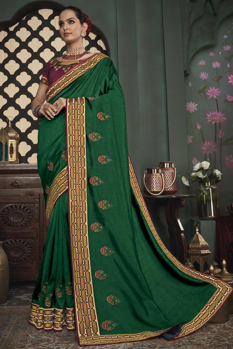 Green Color Designer Border Work Saree In Art Silk Fabric