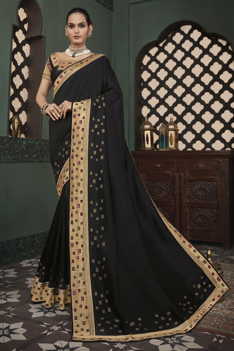 Art Silk Fabric Party Wear Border Work Saree In Black Color