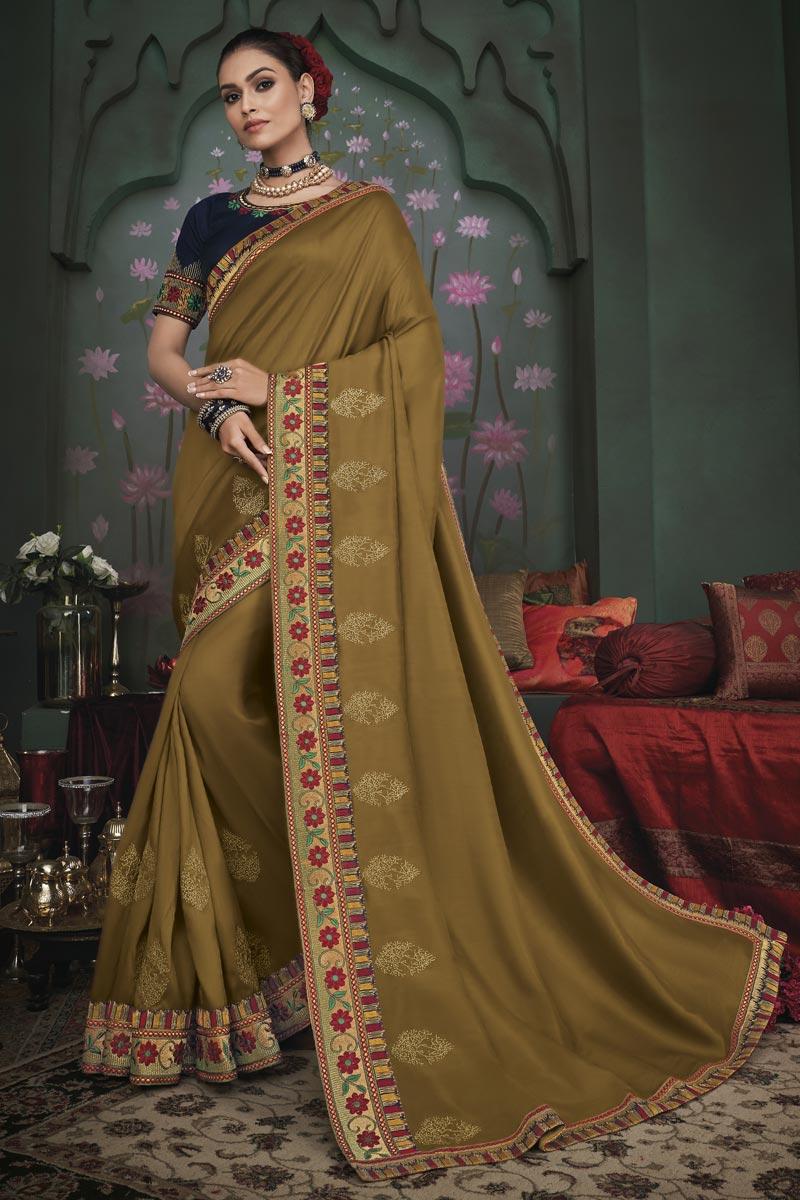 Khaki Color Traditional Border Work Saree In Art Silk Fabric