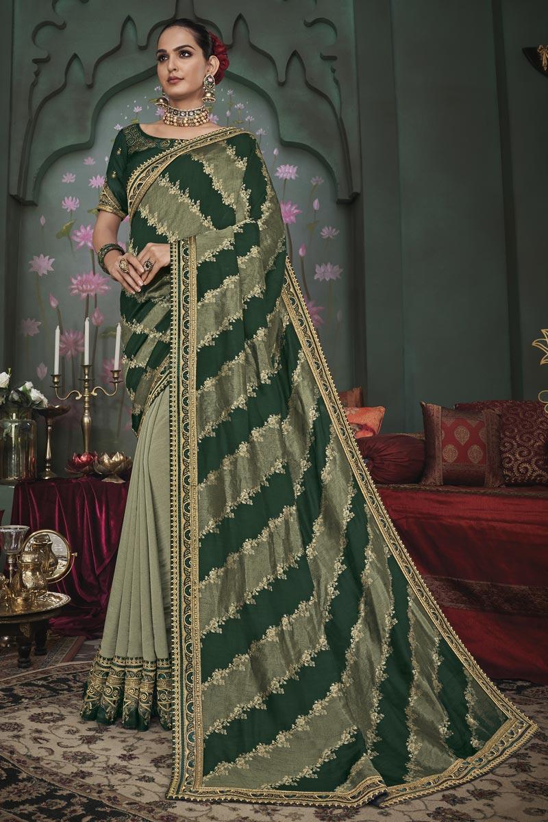 Green Color Art Silk Fabric Function Wear Border Work Saree