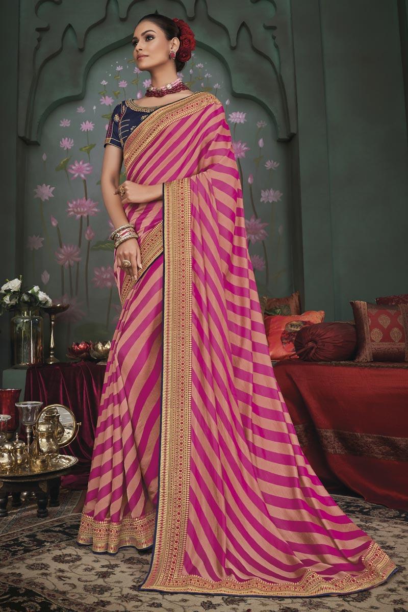 Designer Art Silk Fabric Function Wear Border Work Saree In Rani Color