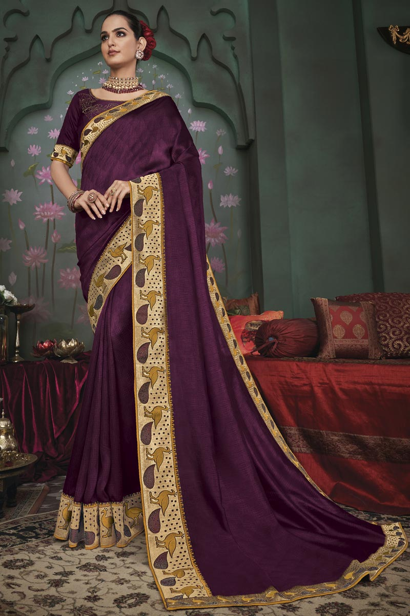 Burgundy Color Party Wear Border Work Saree In Art Silk Fabric