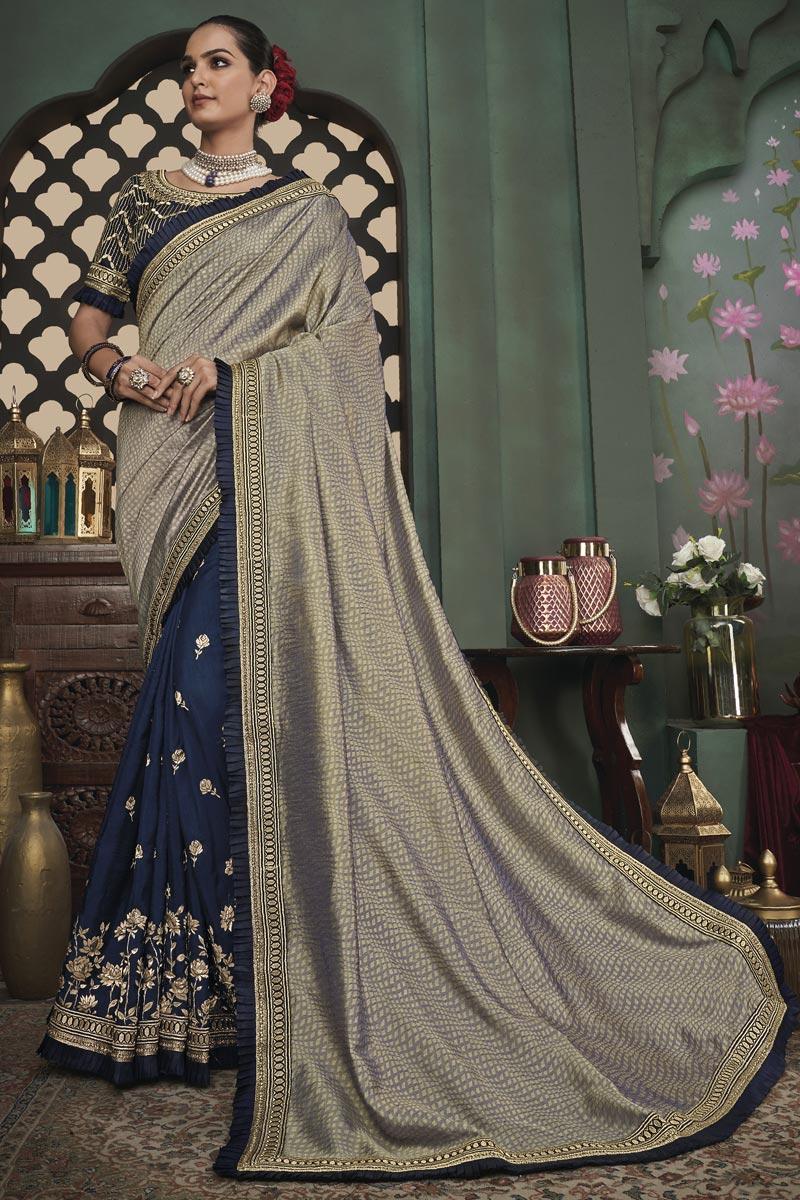 Navy Blue Color Art Silk Fabric Occasion Wear Border Work Saree