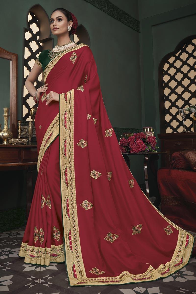 Function Wear Maroon Color Border Work Saree In Art Silk Fabric