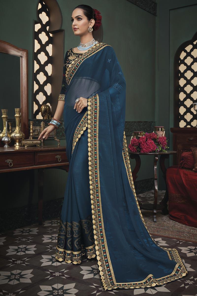 Designer Navy Blue Color Art Silk Fabric Party Wear Border Work Saree