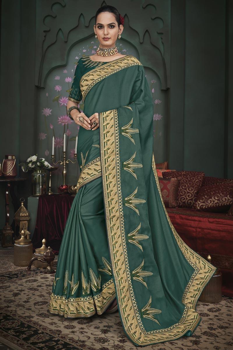 Art Silk Fabric Teal Color Designer Border Work Saree