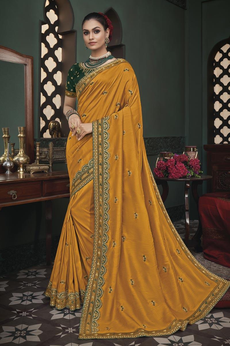 Mustard Color Art Silk Fabric Occasion Wear Border Work Saree