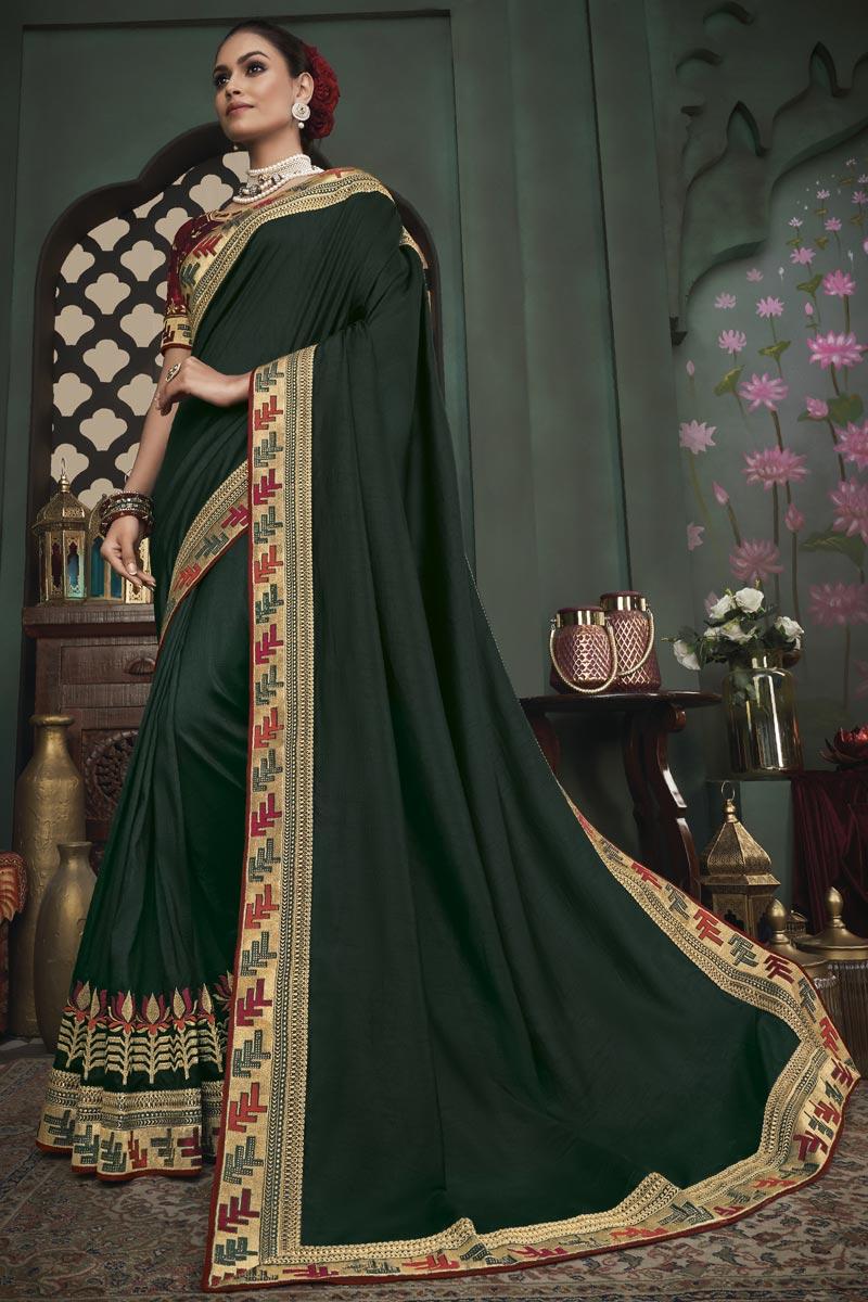Fancy Dark Green Color Art Silk Fabric Sangeet Wear Border Work Saree