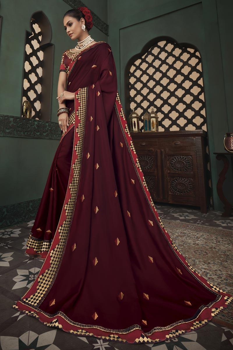 Designer Art Silk Fabric Maroon Color Party Wear Border Work Saree
