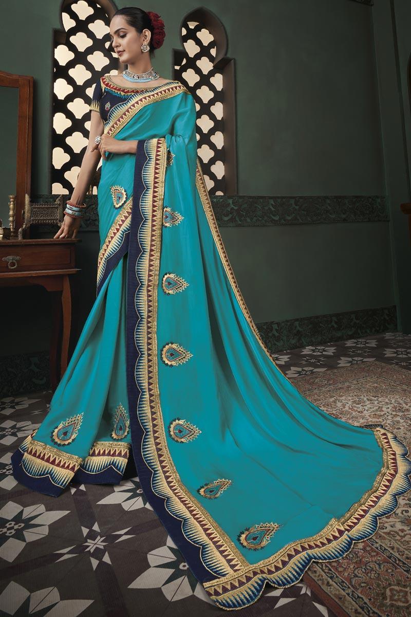 Fancy Art Silk Fabric Sky Blue Color Border Work Saree