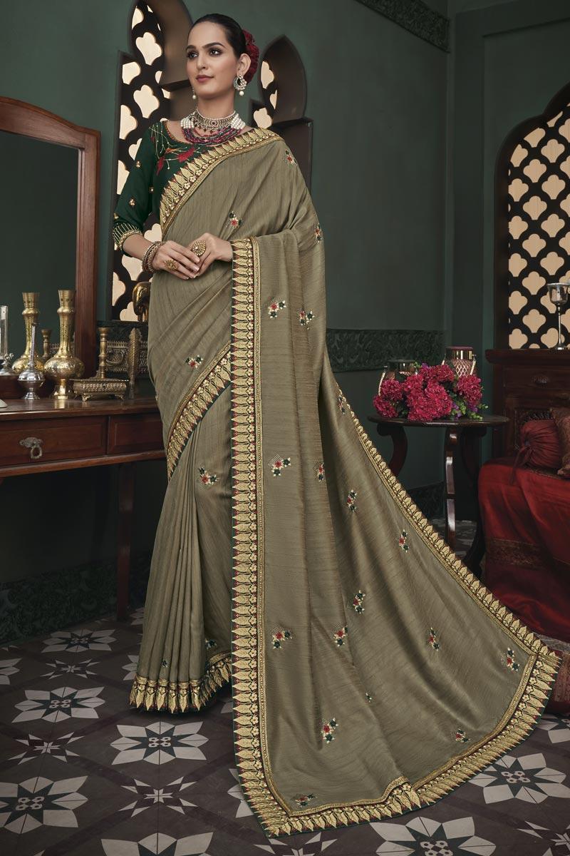 Designer Dark Beige Color Occasion Wear Border Work Saree In Art Silk Fabric