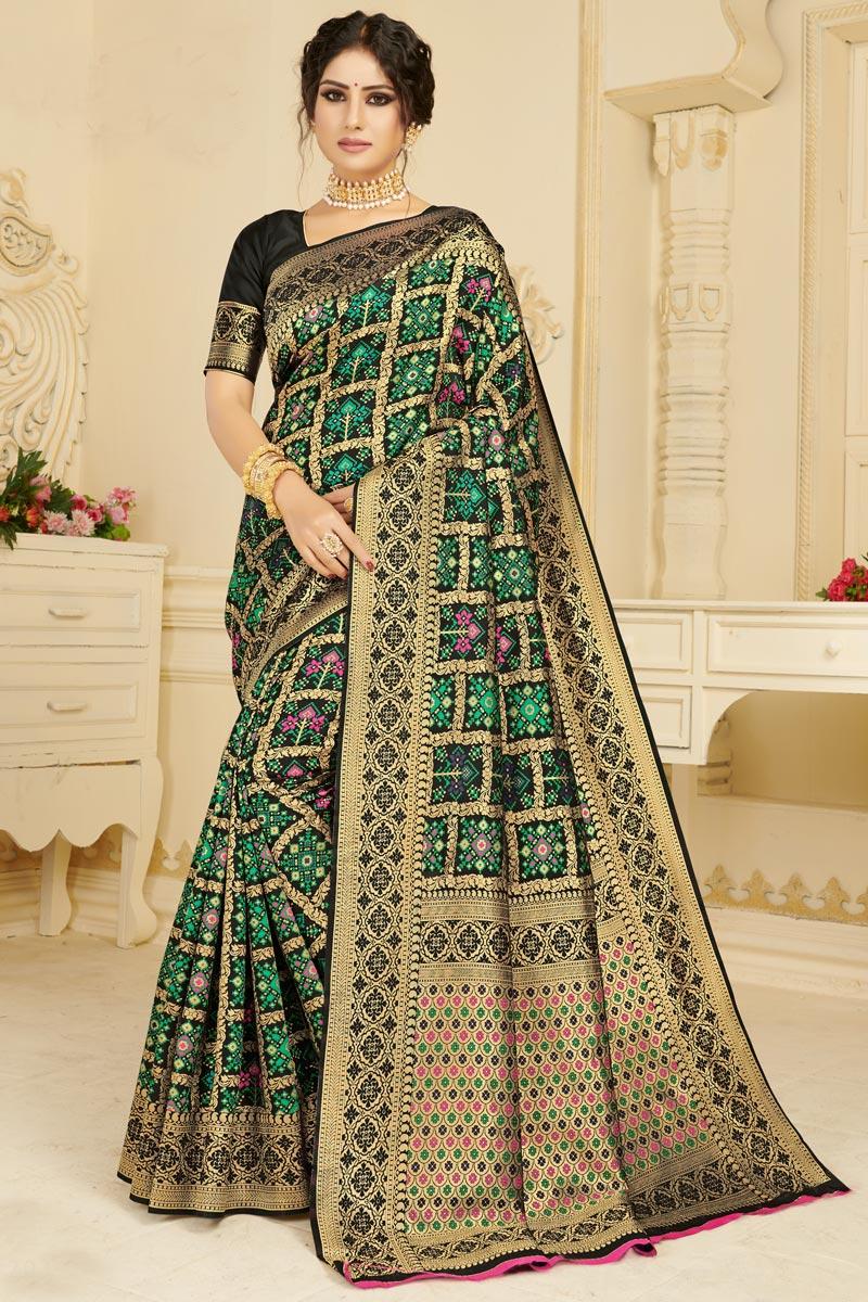 Festive Wear Black Color Chic Art Silk Fabric Weaving Work Saree