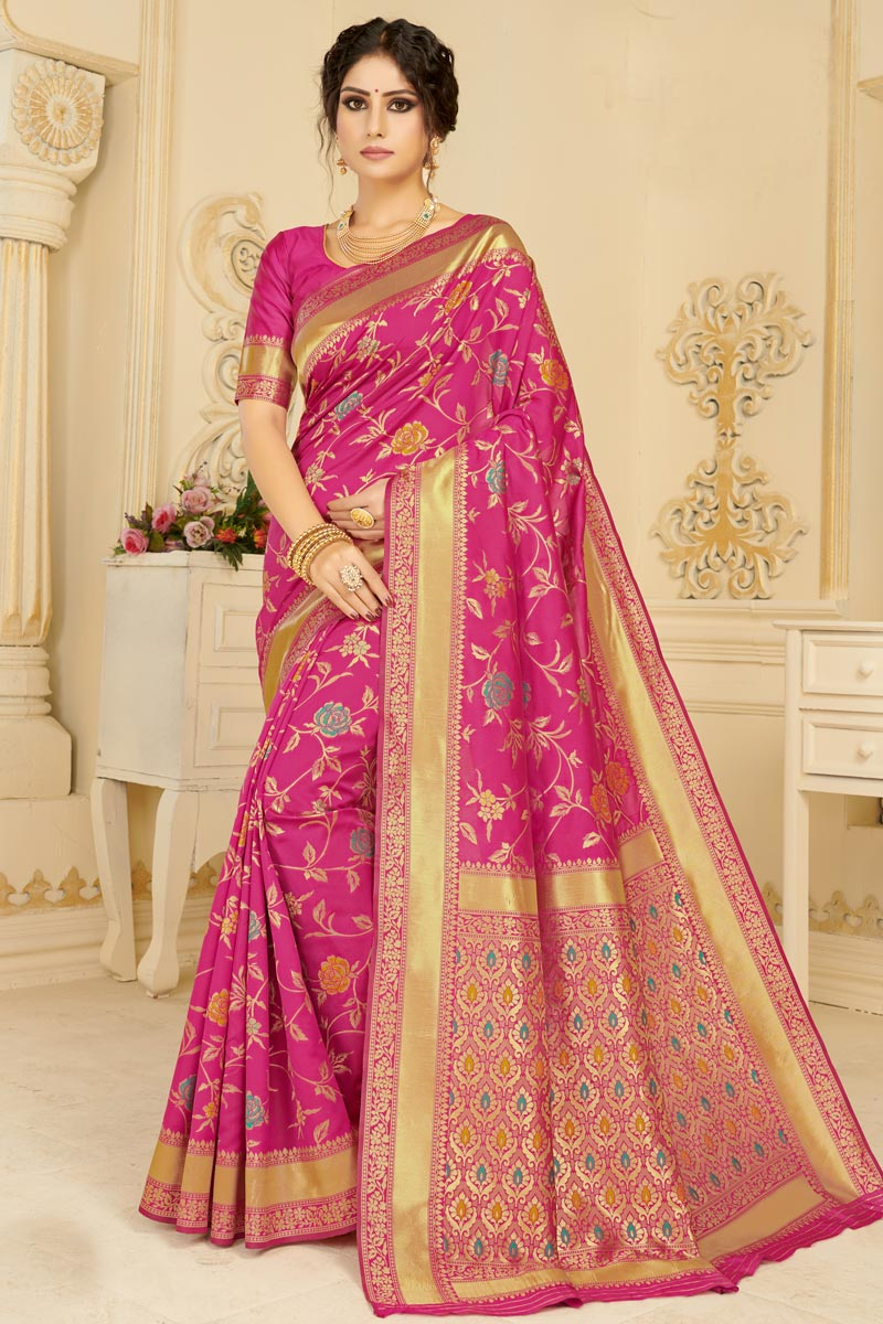 Art Silk Fabric Festive Wear Chic Rani Color Weaving Work Saree