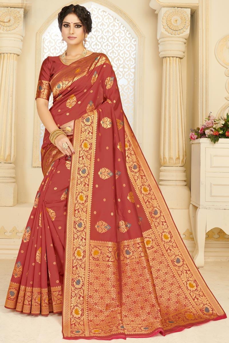 Festive Wear Art Silk Fabric Chic Weaving Work Saree In Rust Color