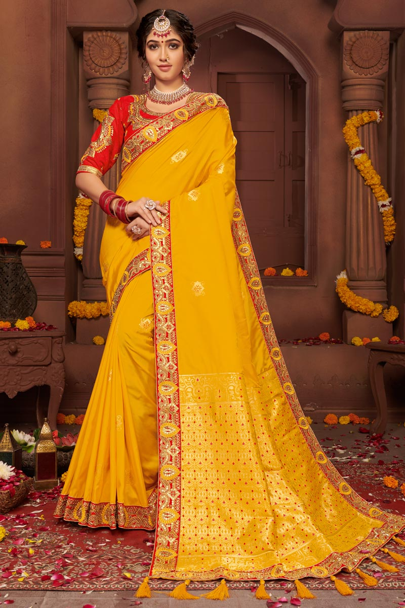 Yellow Color Festive Wear Chic Art Silk Fabric Embroidered Border Work Saree
