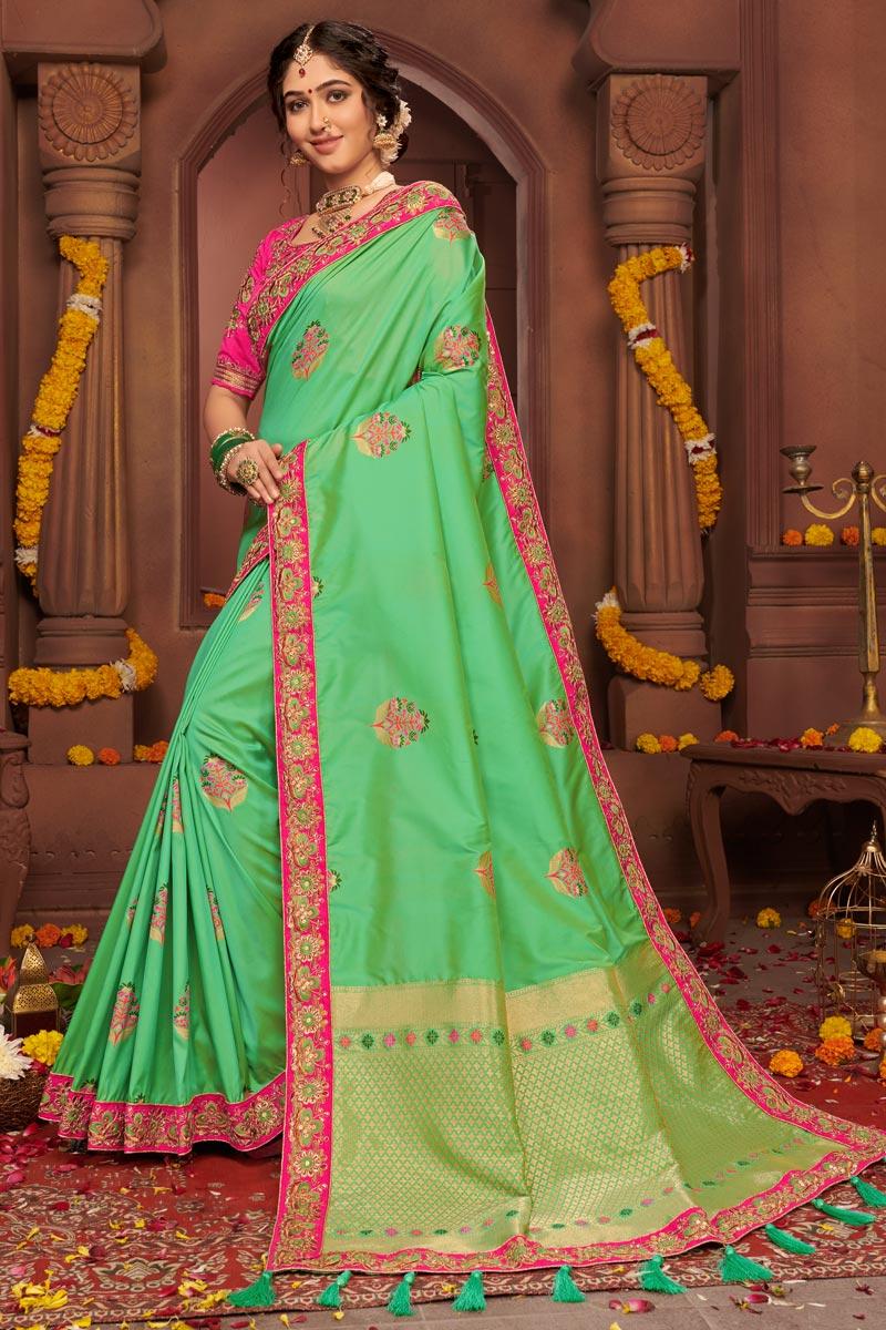 Art Silk Fabric Festive Wear Chic Sea Green Color Embroidered Border Work Saree