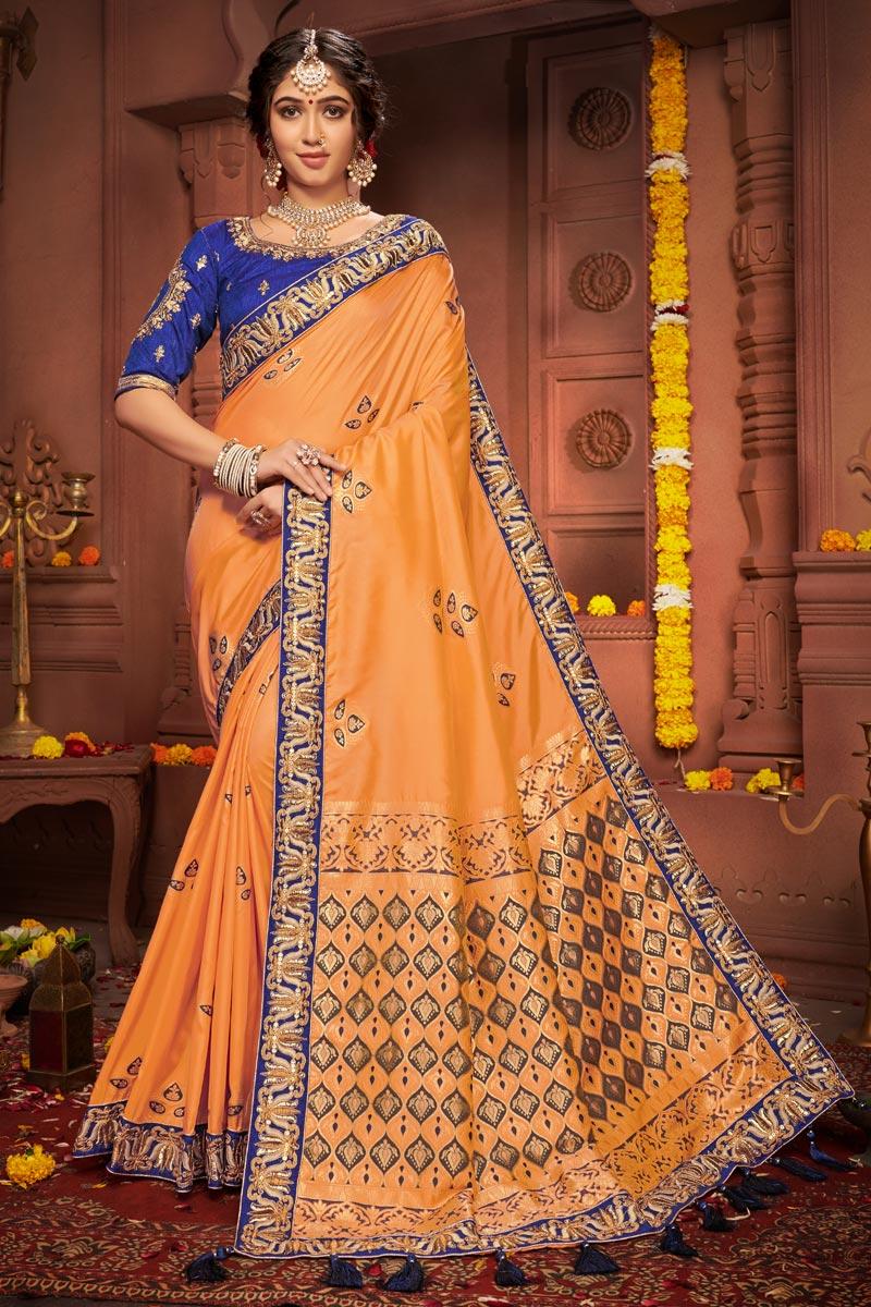 Orange Color Festive Wear Art Silk Fabric Chic Embroidered Border Work Saree