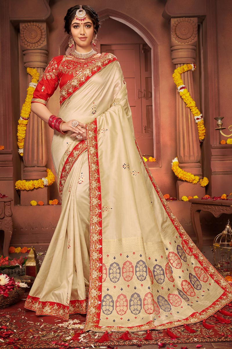 Festive Wear Art Silk Fabric Chic Embroidered Border Work Saree In Beige Color