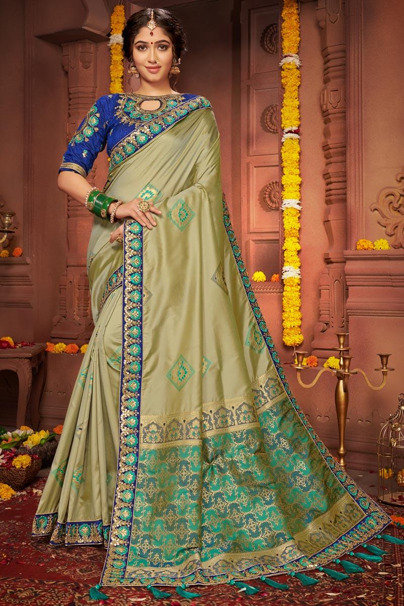 Sea Green Color Festive Wear Chic Art Silk Fabric Embroidered Border Work Saree