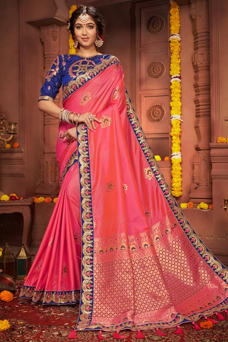 Art Silk Fabric Chic Festive Wear Pink Color Embroidered Border Work Saree