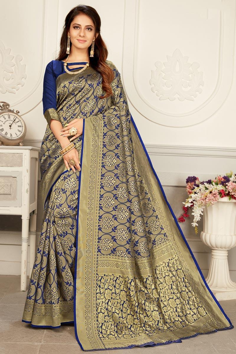 Navy Blue Color Puja Wear Trendy Weaving Work Saree In Art Silk Fabric