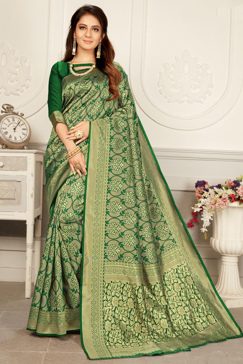 Art Silk Fabric Trendy Puja Wear Green Color Weaving Work Saree