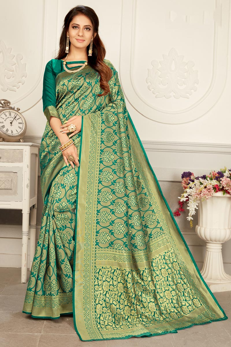 Cyan Color Puja Wear Trendy Weaving Work Saree In Art Silk Fabric