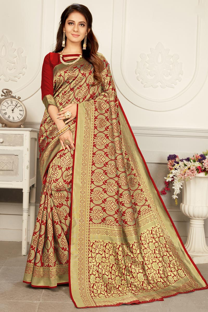 Art Silk Fabric Puja Wear Trendy Red Color Weaving Work Saree