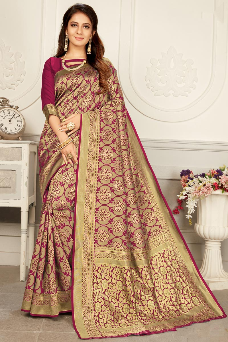 Puja Wear Burgundy Color Trendy Art Silk Fabric Weaving Work Saree