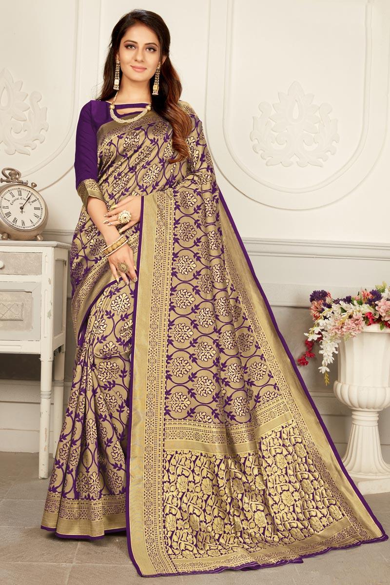 Puja Wear Art Silk Fabric Trendy Weaving Work Saree In Purple Color
