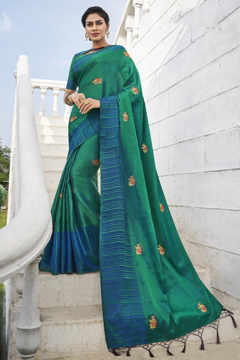 Office Party Wear Fancy Fabric Chic Weaving Work Saree In Teal Color