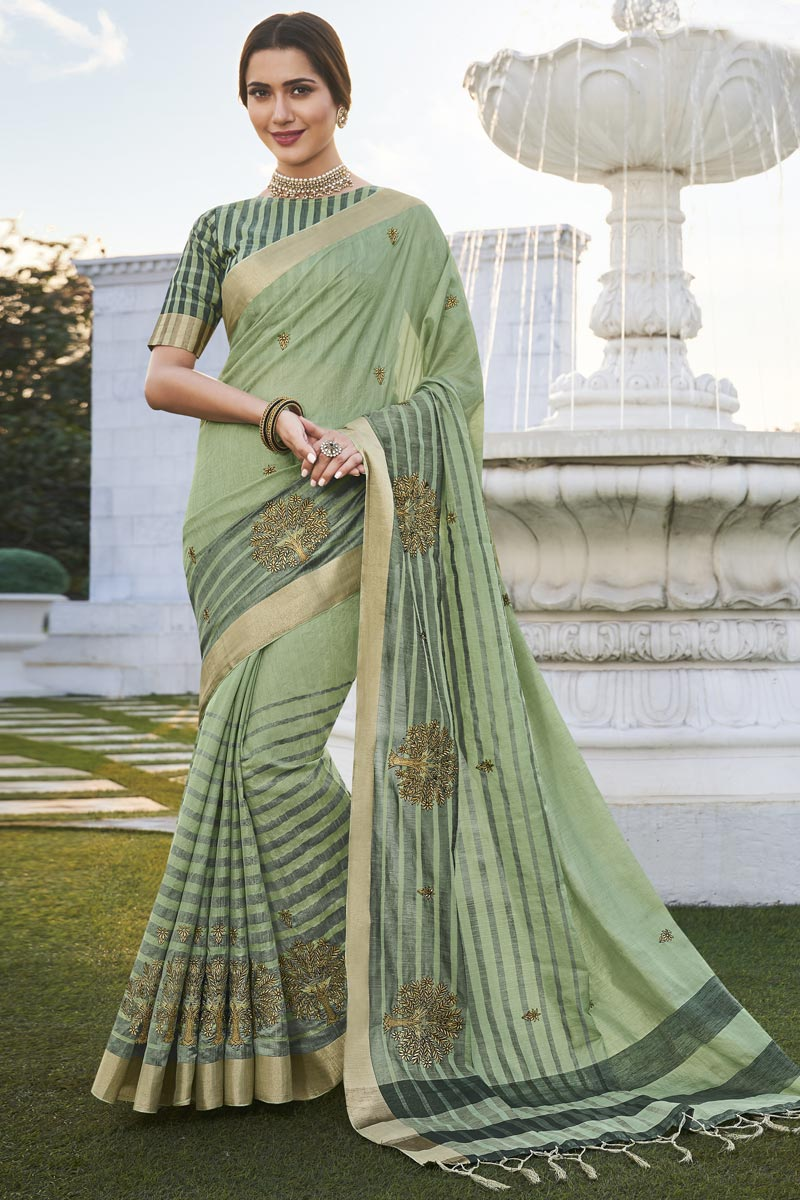 Sea Green Color Office Party Wear Chic Fancy Fabric Weaving Work Saree