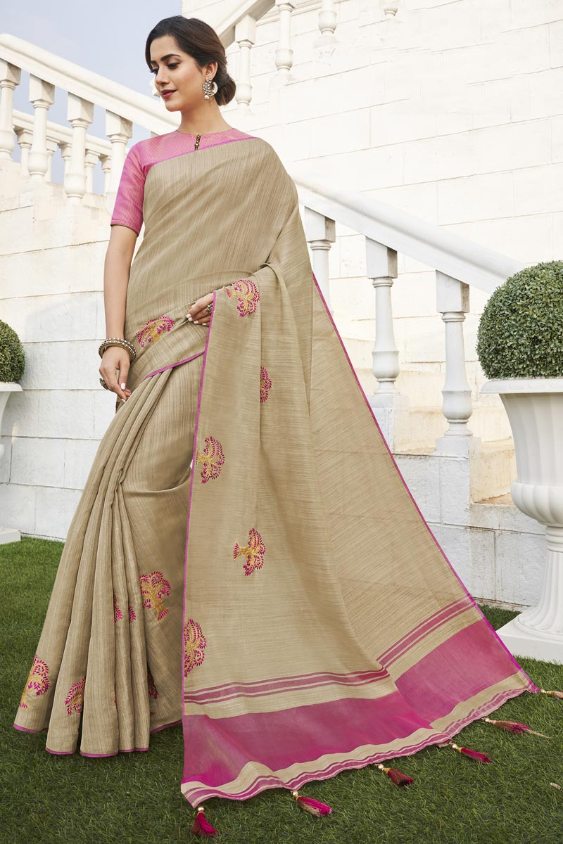 Beige Color Office Party Wear Fancy Fabric Chic Weaving Work Saree