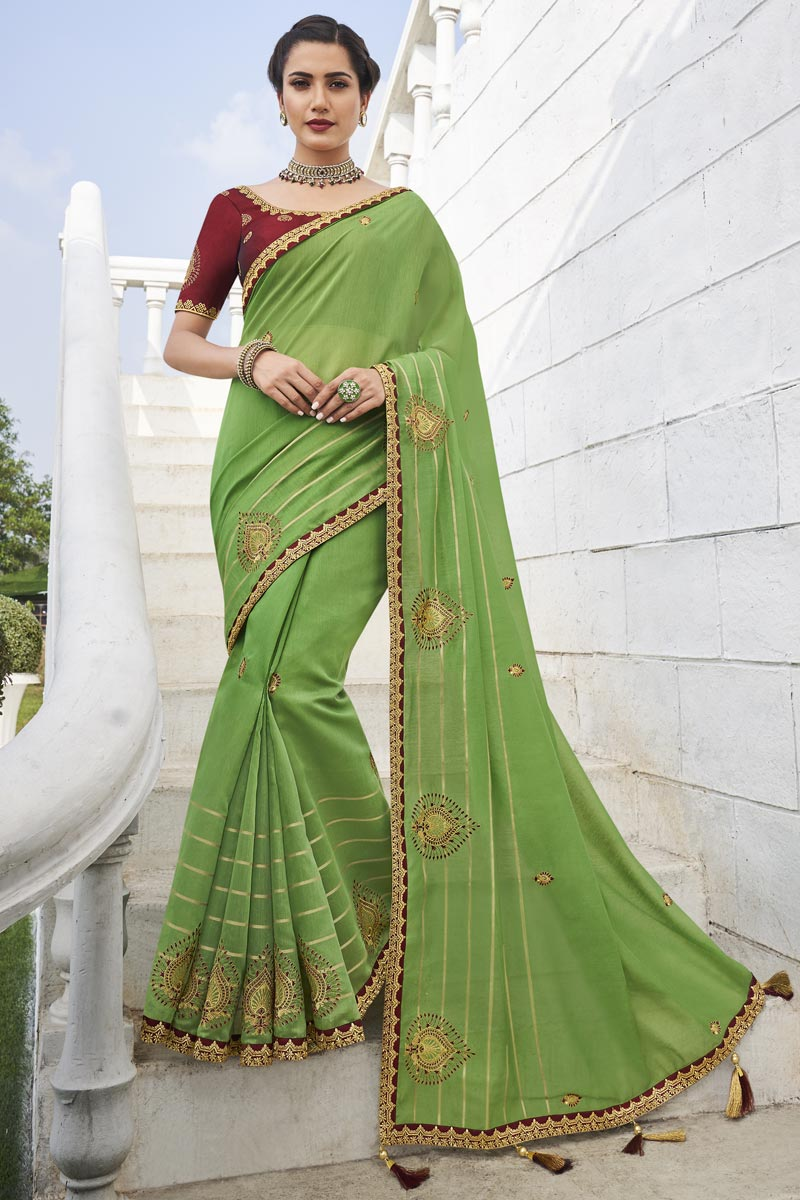 Office Party Wear Green Color Chic Fancy Fabric Weaving Work Saree