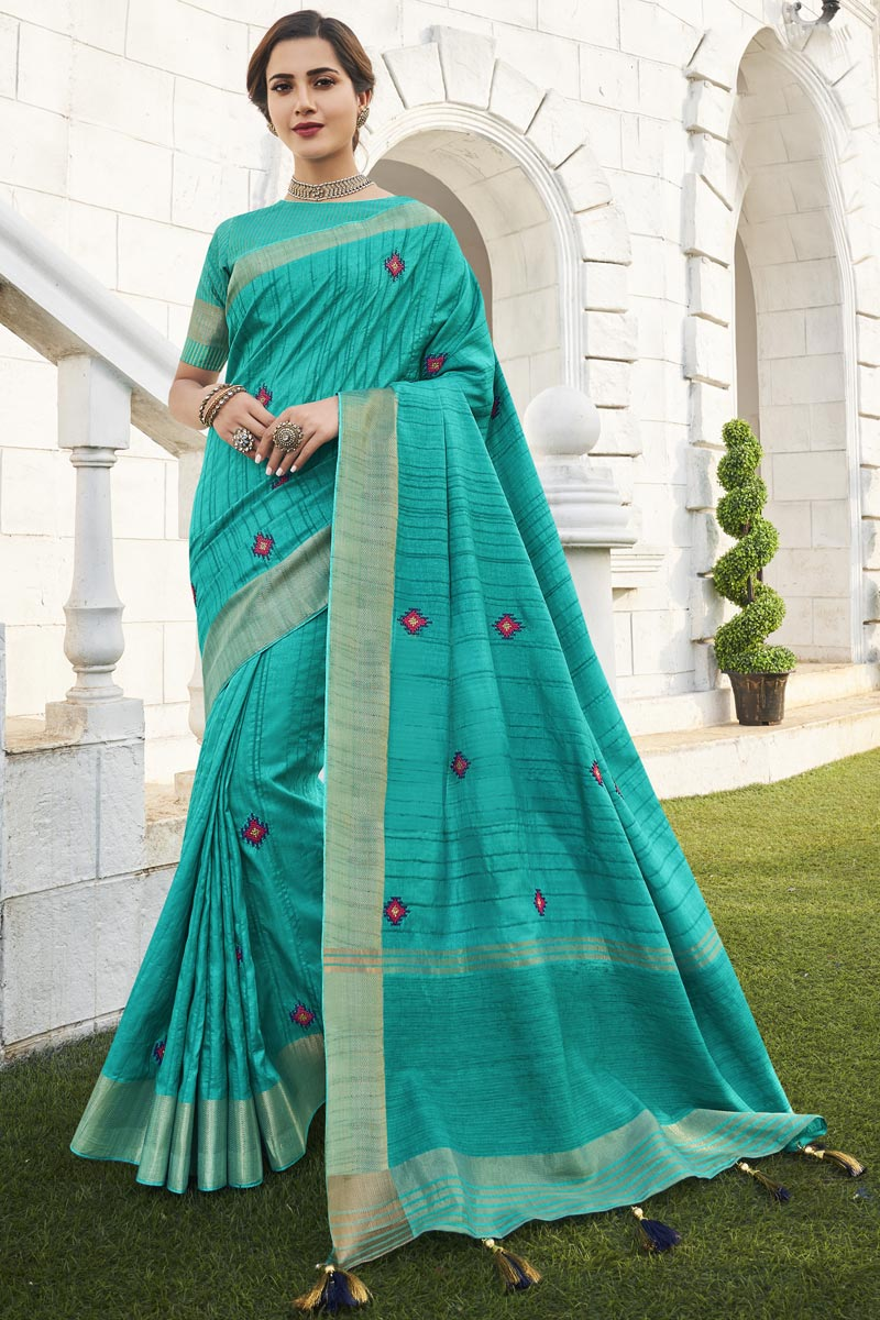 Office Party Wear Cyan Color Chic Weaving Work Saree In Fancy Fabric