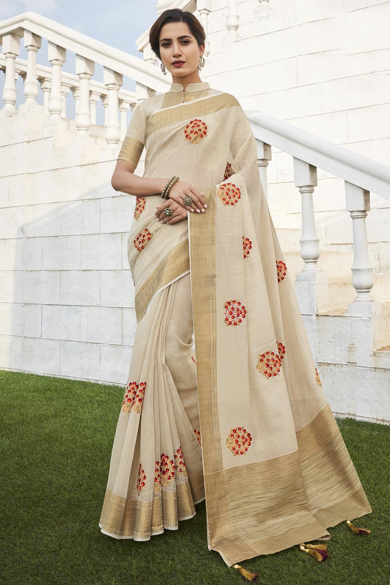 Fancy Fabric Office Party Wear Beige Color Chic Weaving Work Saree