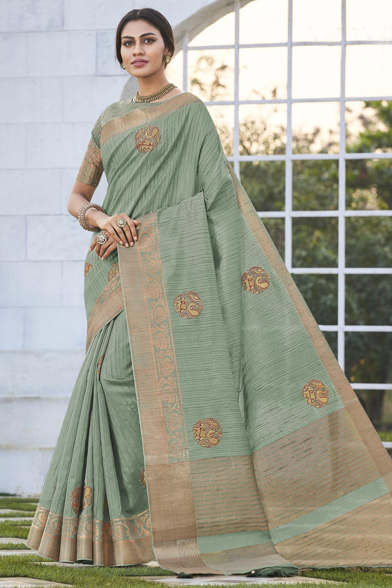 Office Party Wear Fancy Fabric Chic Sea Green Color Weaving Work Saree
