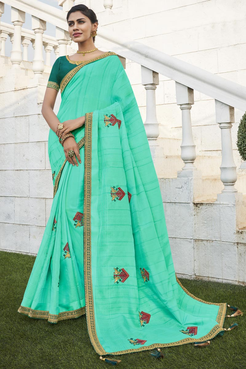 Cyan Color Office Party Wear Chic Fancy Fabric Weaving Work Saree