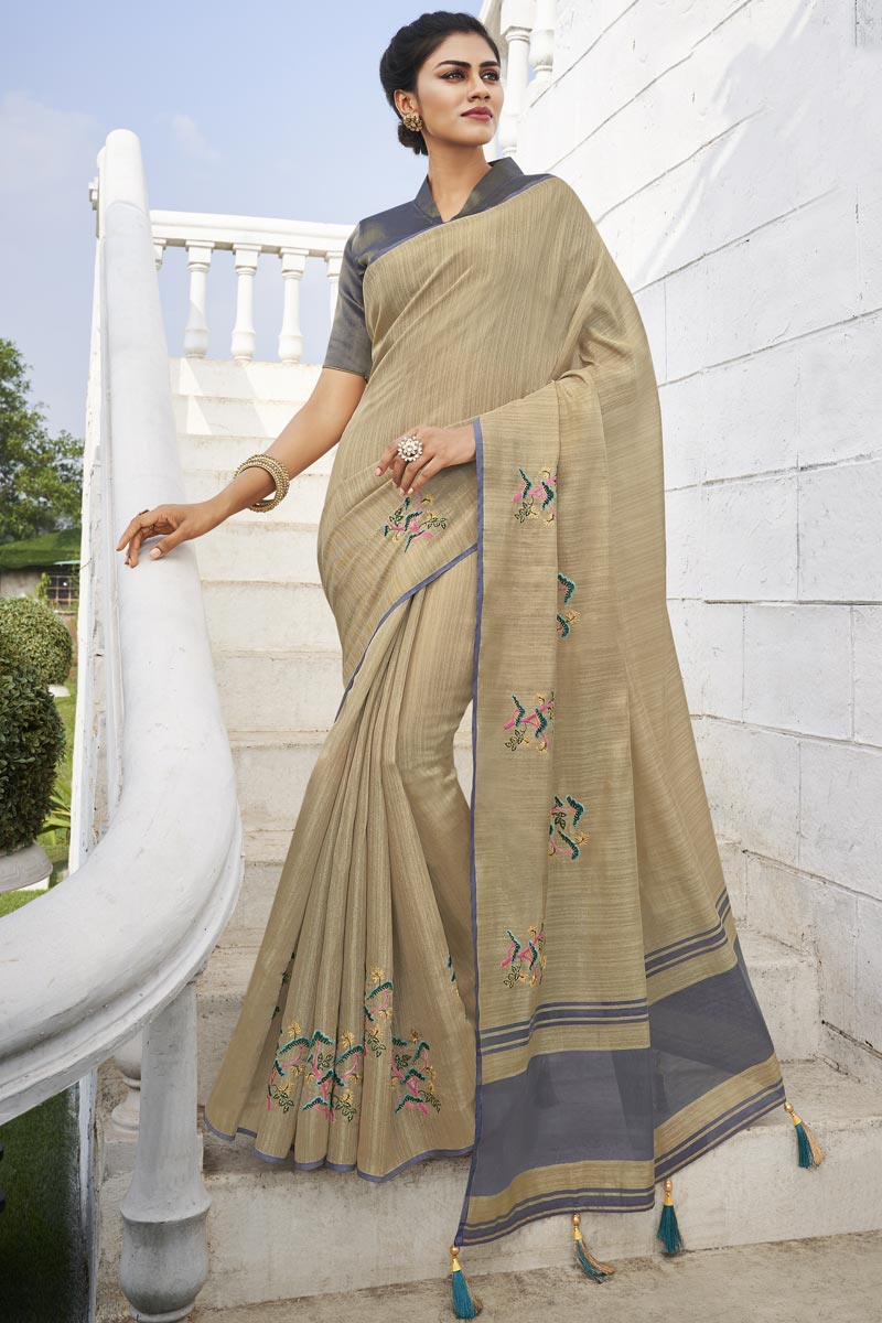 Office Party Style Fancy Fabric Chic Weaving Work Saree In Cream Color