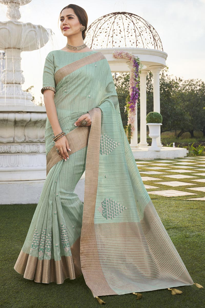 Sea Green Color Office Party Style Fancy Fabric Chic Weaving Work Saree