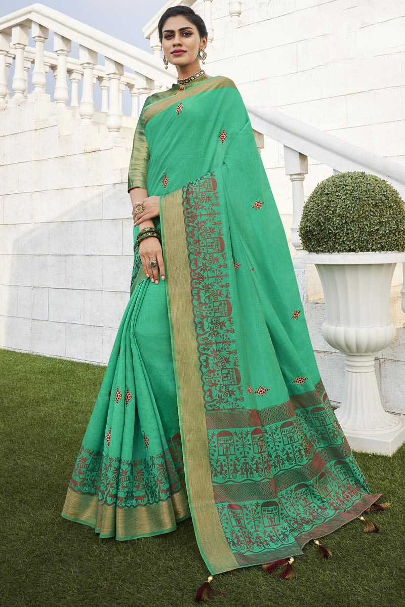 Fancy Fabric Office Party Style Chic Green Color Weaving Work Saree