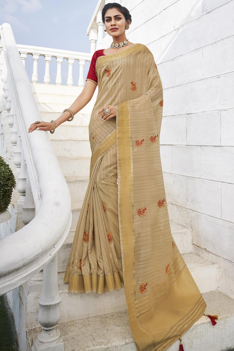 Office Party Style Beige Color Chic Fancy Fabric Weaving Work Saree