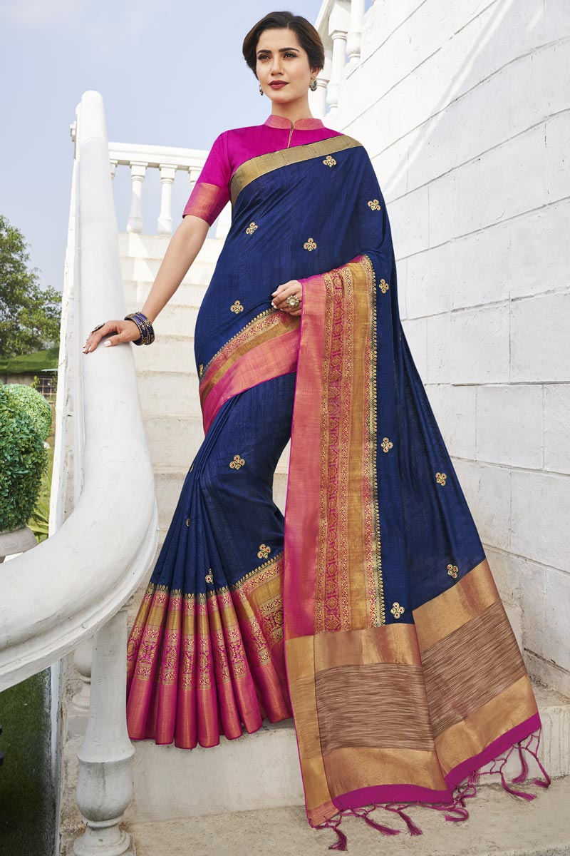 Office Party Style Navy Blue Color Chic Fancy Fabric Weaving Work Saree